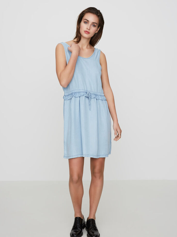 FEMININE SLEEVELESS DRESS, Light Blue Denim, large