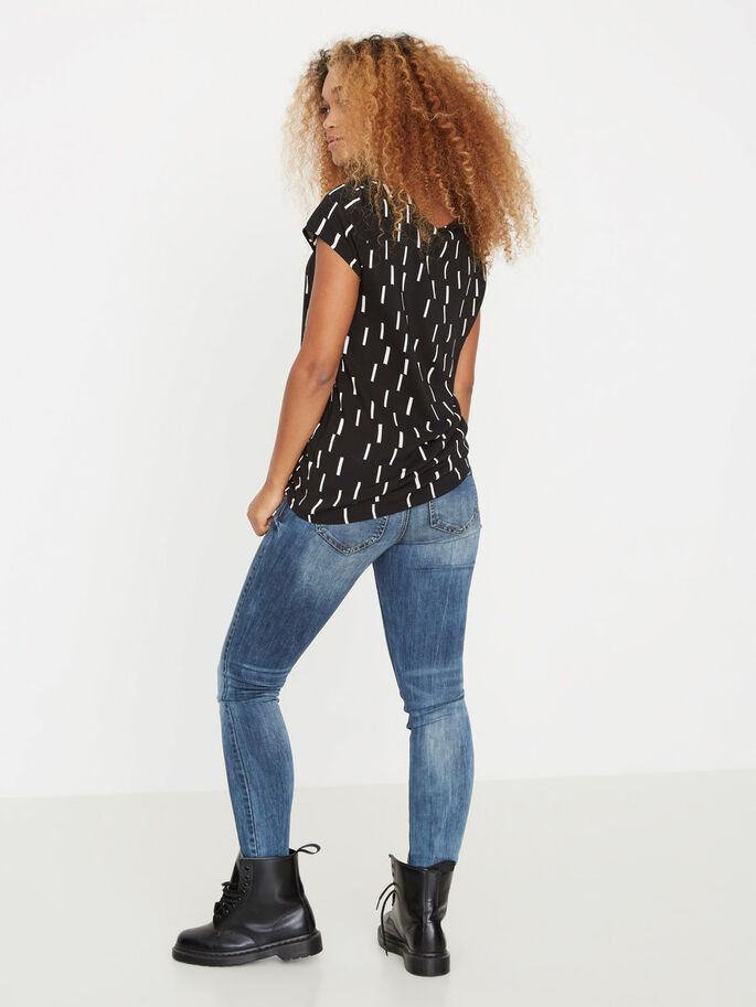 CASUAL SHORT SLEEVED TOP, Black, large