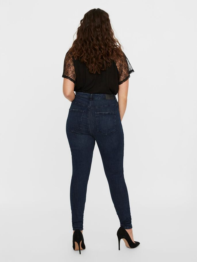 VMLOA HIGH WAIST SKINNY FIT JEANS, Dark Blue Denim, large