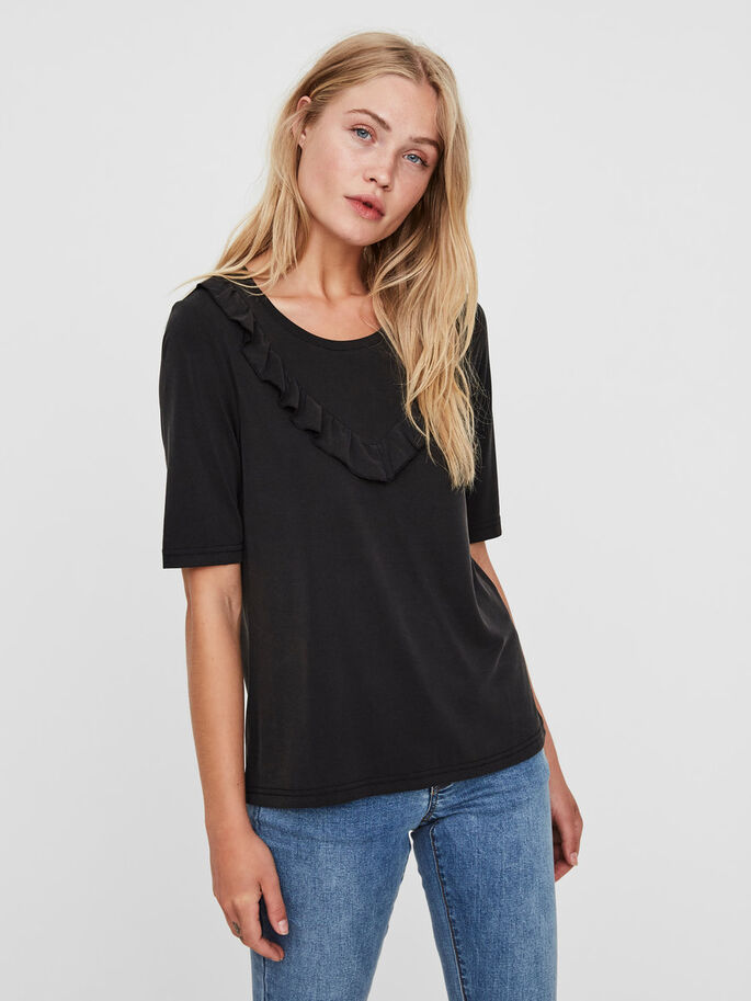 FRILL SHORT SLEEVED TOP, Black Beauty, large