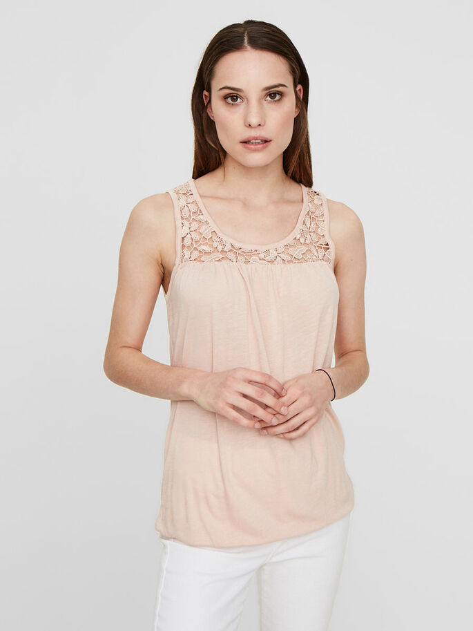 LACED SLEEVELESS TOP, Cameo Rose, large