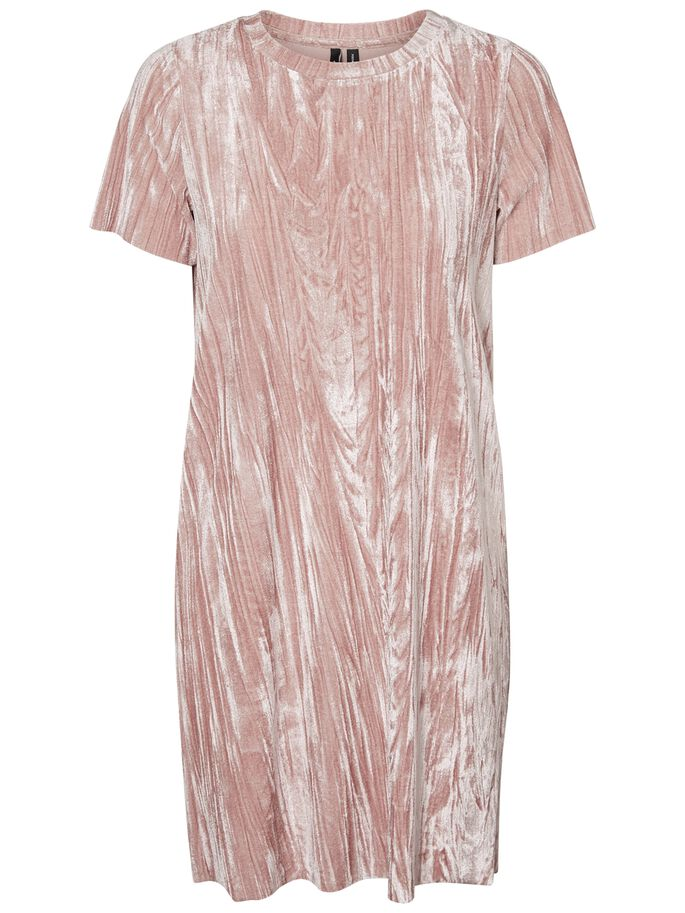 VELVET SHORT SLEEVED DRESS, Ash Rose, large
