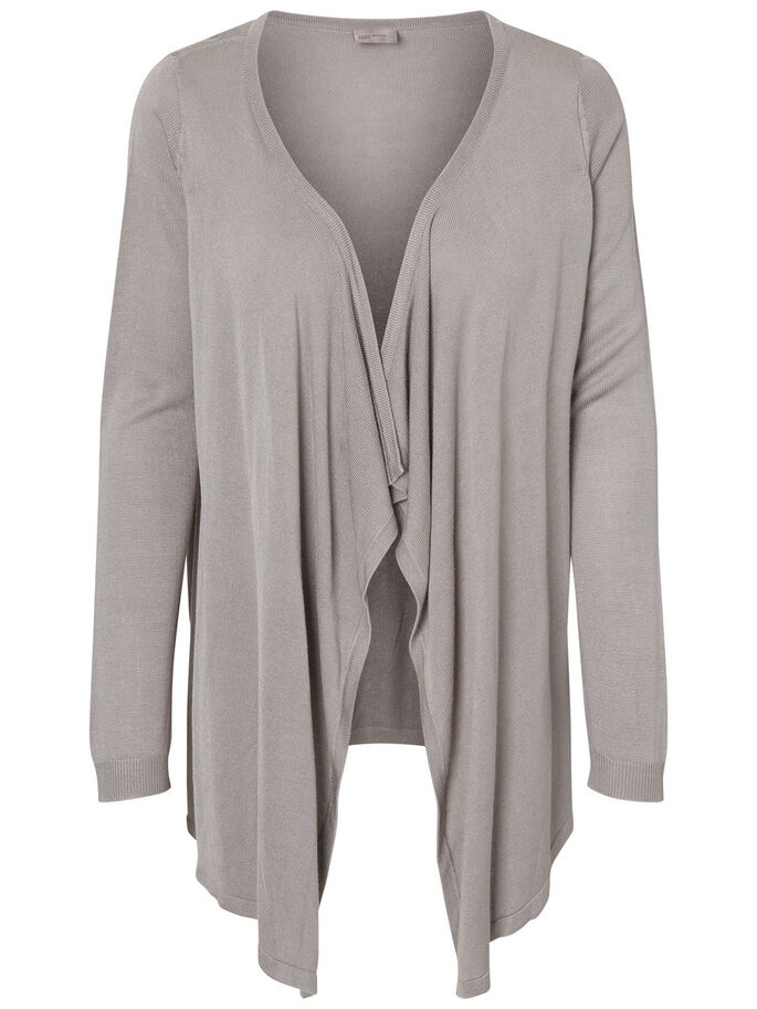 LONG SLEEVED CARDIGAN, Ash, large