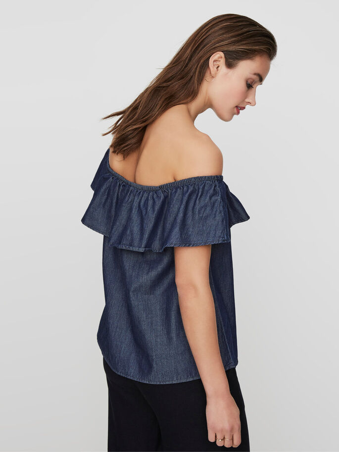 OFF-SHOULDER SLEEVELESS TOP, Dark Blue Denim, large