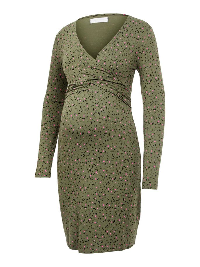 ABSTRACT PRINTED 2-IN-1 MATERNITY DRESS, Thyme, large