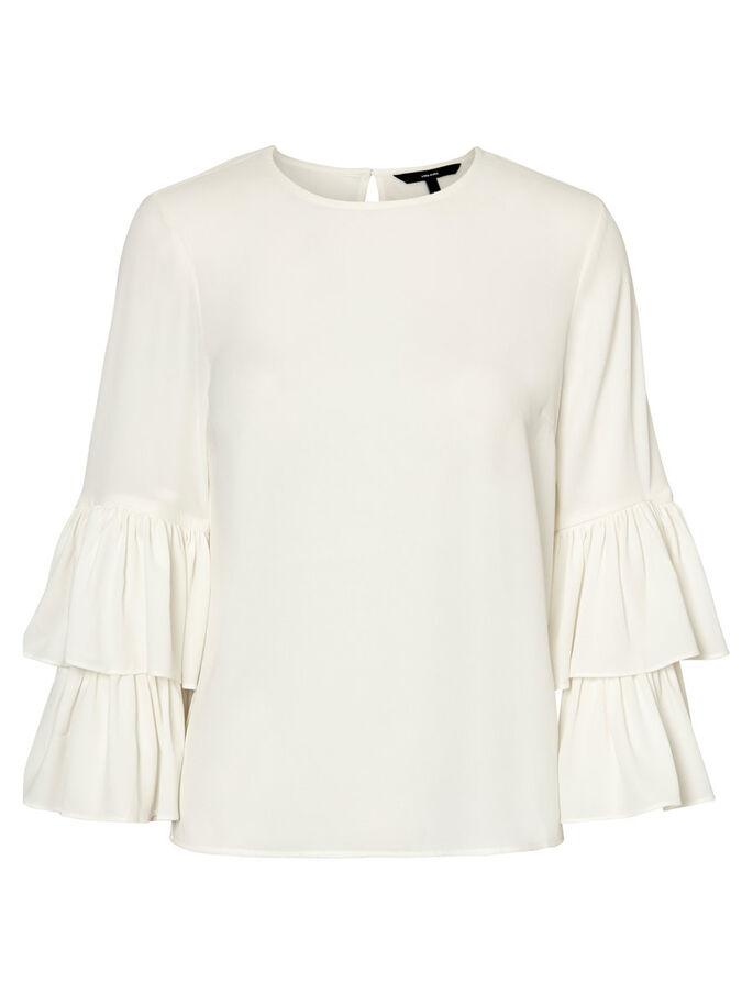 FRILL LONG SLEEVED BLOUSE, Snow White, large