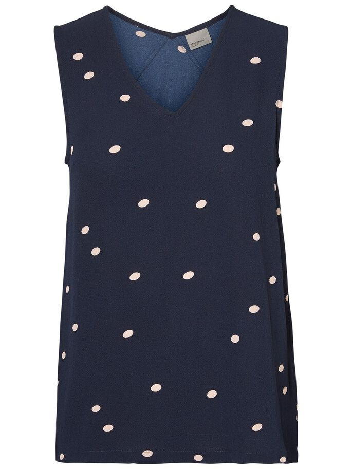 DOTTED SLEEVELESS TOP, Navy Blazer, large