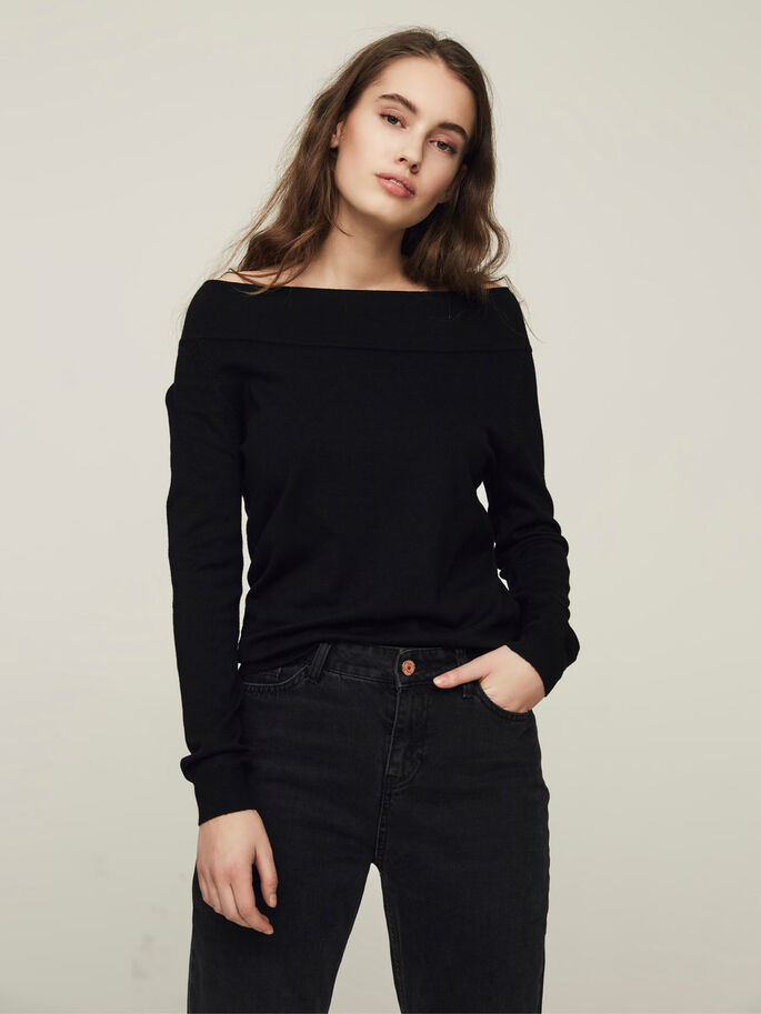 CASUAL SHIRT MET LANGE MOUWEN, Black Beauty, large