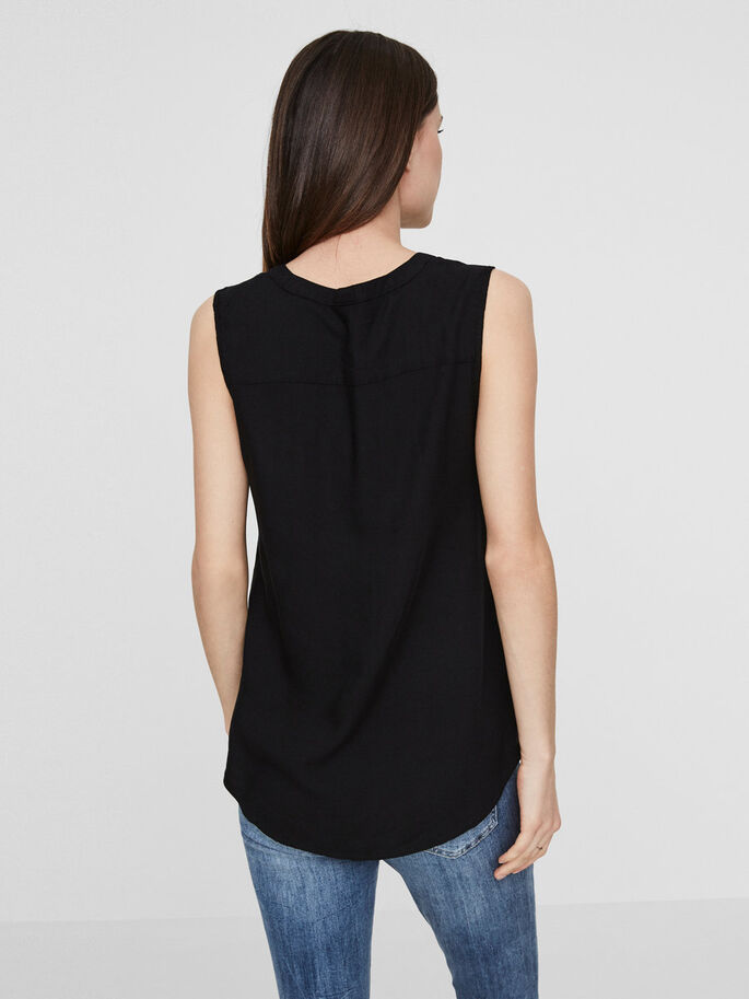 FEMININE SLEEVELESS TOP, Black Beauty, large