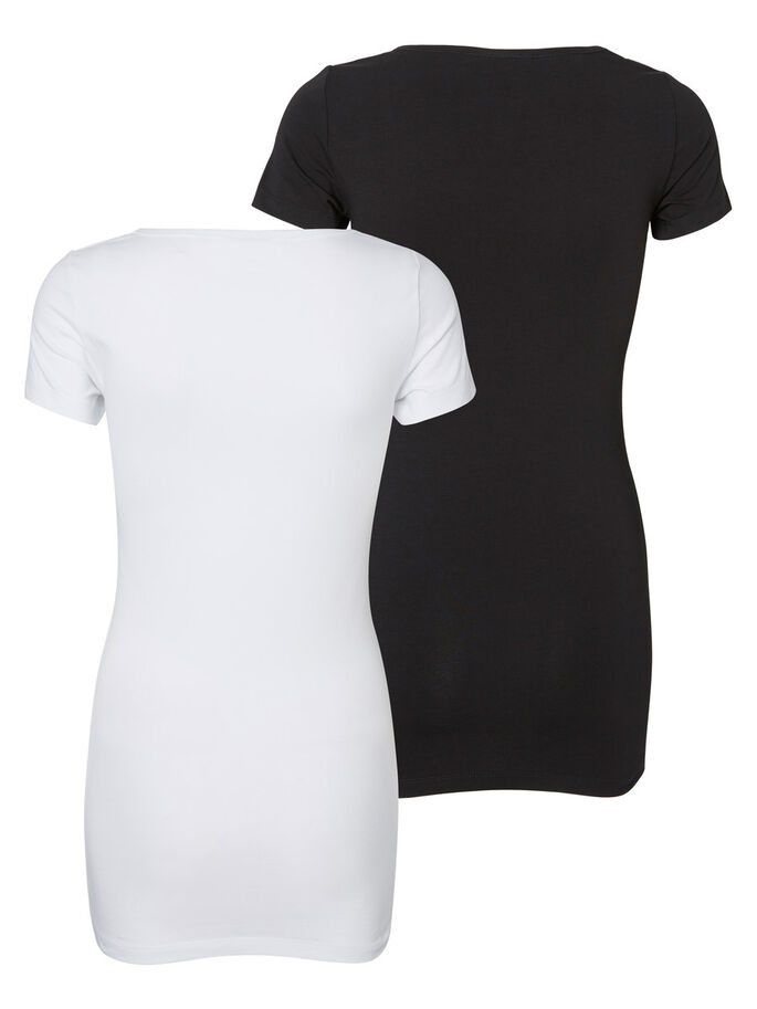 LONG BASIC 2 PACK SHORT SLEEVED BLOUSE, Bright White, large