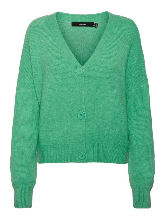 V-AUSSCHNITT STRICKJACKE, Jade Cream, large