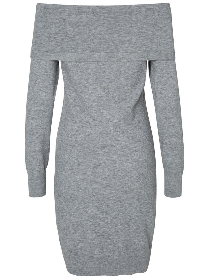DETAILED LONG SLEEVED DRESS, Light Grey Melange, large