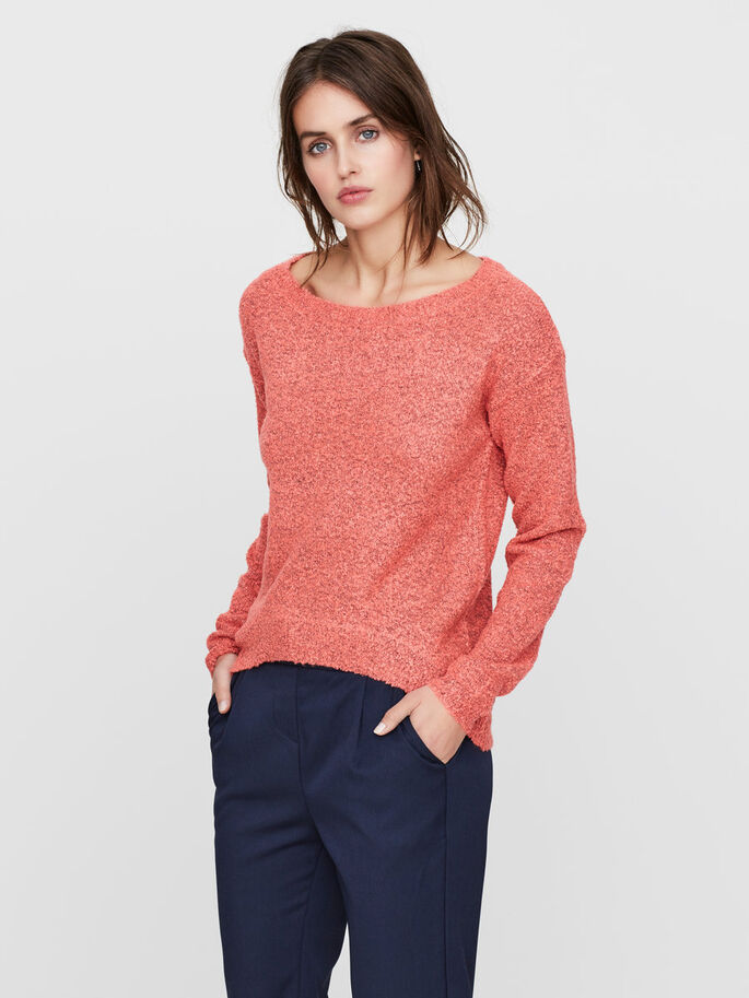CASUAL KNITTED PULLOVER, Georgia Peach, large