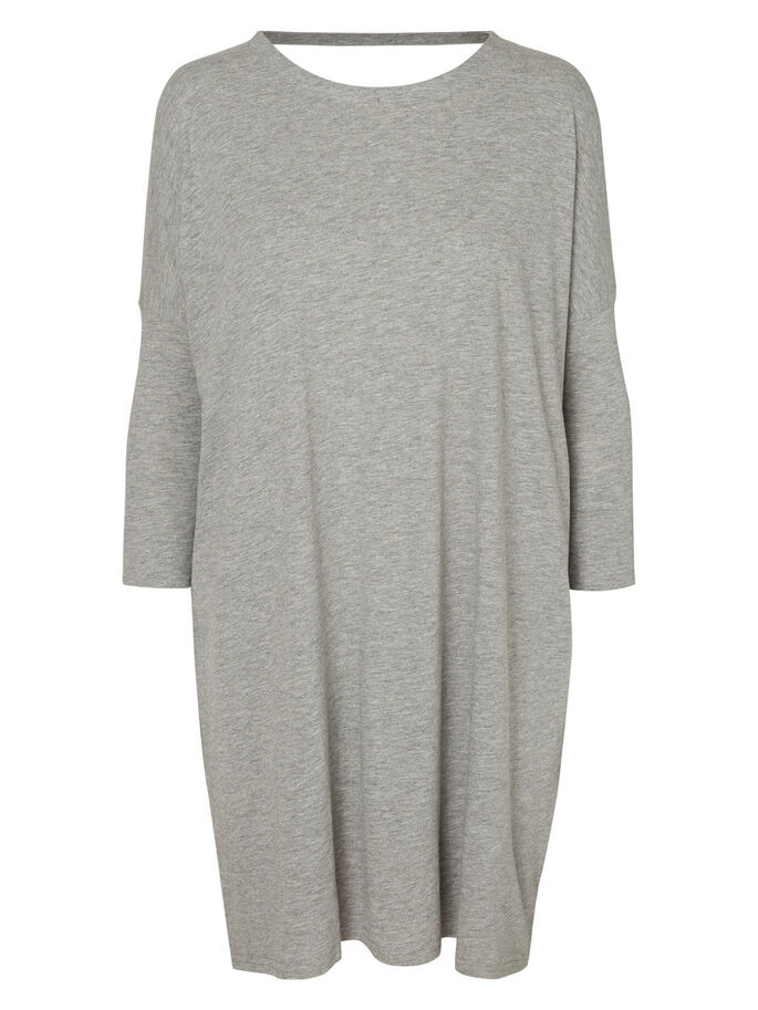LOOSE FIT SHORT DRESS, Light Grey Melange, large