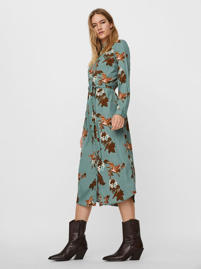 FLORAL PRINTED SHIRT DRESS, Laurel Wreath, large