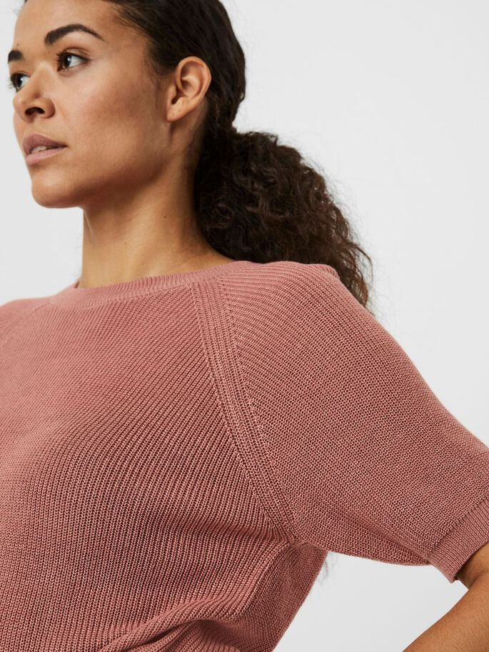 SHORT SLEEVED KNITTED PULLOVER, Old Rose, large