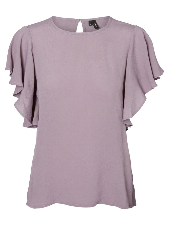 FRILL SHORT SLEEVED TOP, Gray Ridge, large