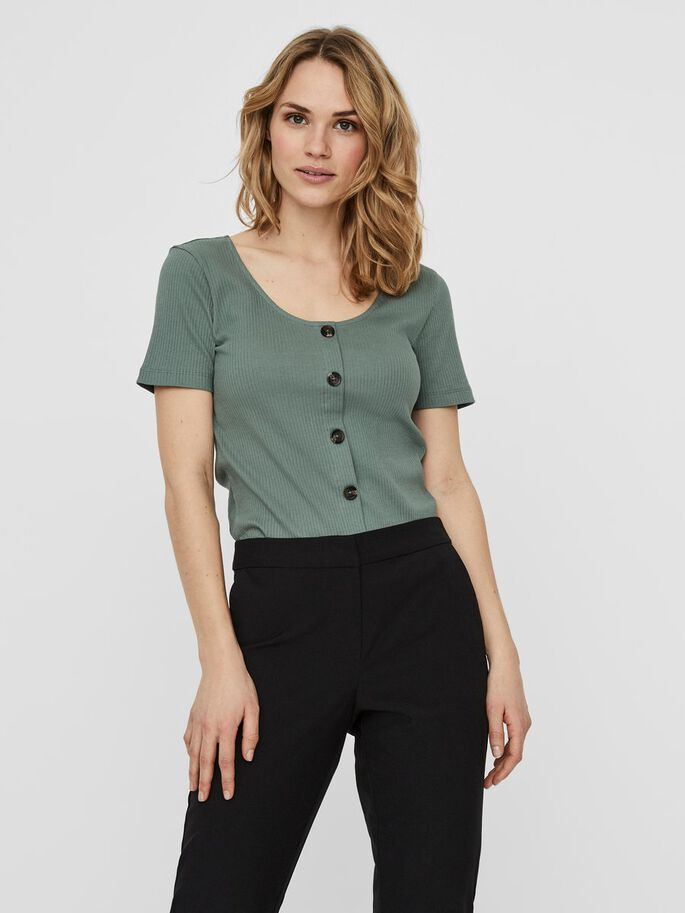 RIBBED SHORT SLEEVED TOP, Laurel Wreath, large