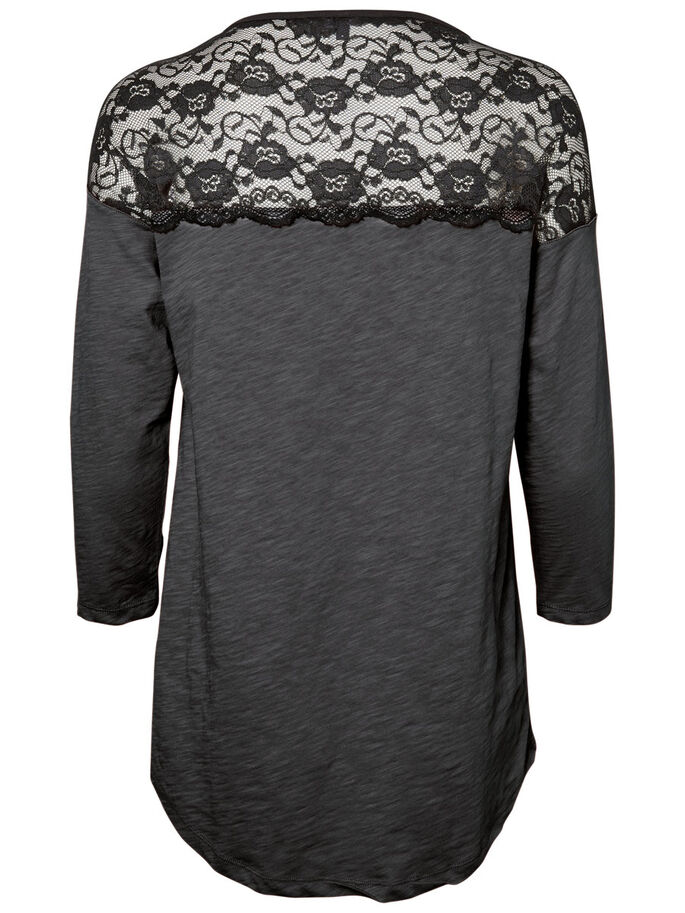 LACE 3/4 SLEEVED BLOUSE, Dark Grey Melange, large
