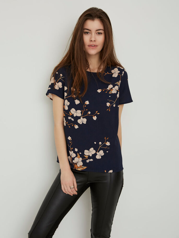 FLOWER SHORT SLEEVED TOP, Black Iris, large
