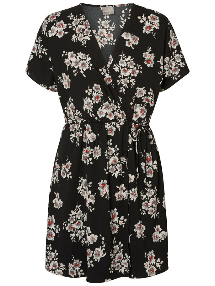 FEMININE SHORT SLEEVED DRESS, Black, large