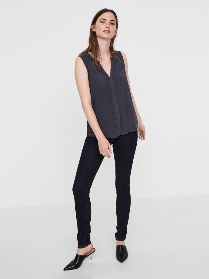 FEMININE SLEEVELESS TOP, Ombre Blue, large