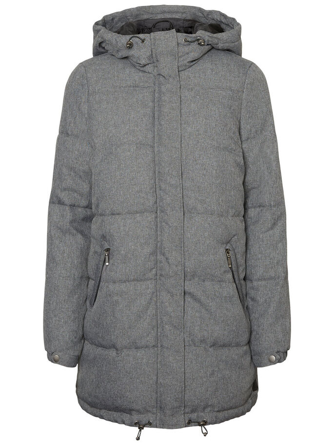 LONG PADDED WINTER COAT, Light Grey Melange, large