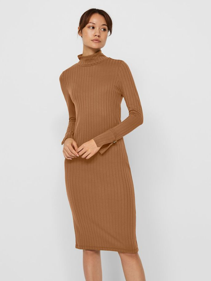 LONG SLEEVED MIDI DRESS, Tobacco Brown, large