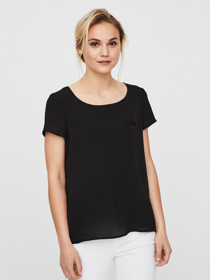 FEMININE SHORT SLEEVED TOP, Black, large