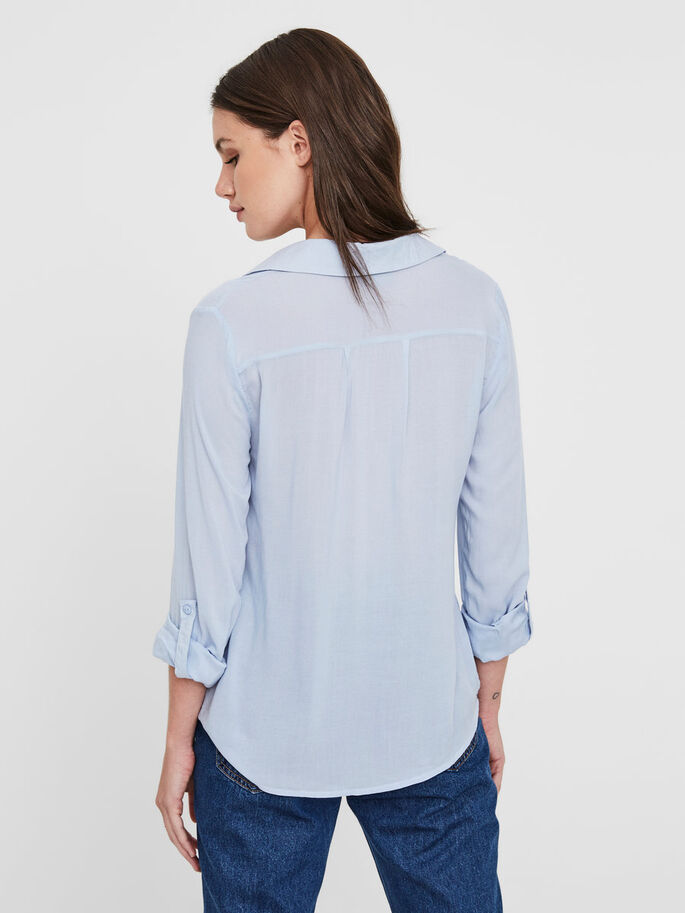 DETAILED LONG SLEEVED SHIRT, Cashmere Blue, large