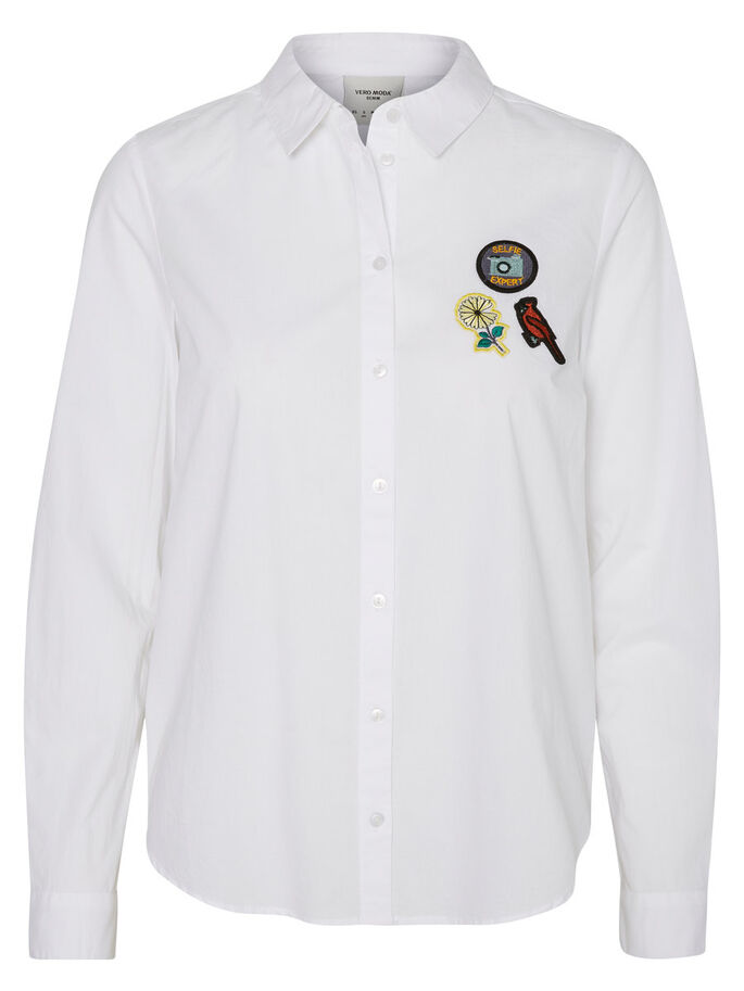 DETAILED LONG SLEEVED SHIRT, Bright White, large