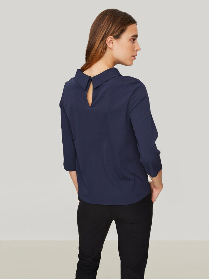 FEMININE 3/4 SLEEVED BLOUSE, Navy Blazer, large