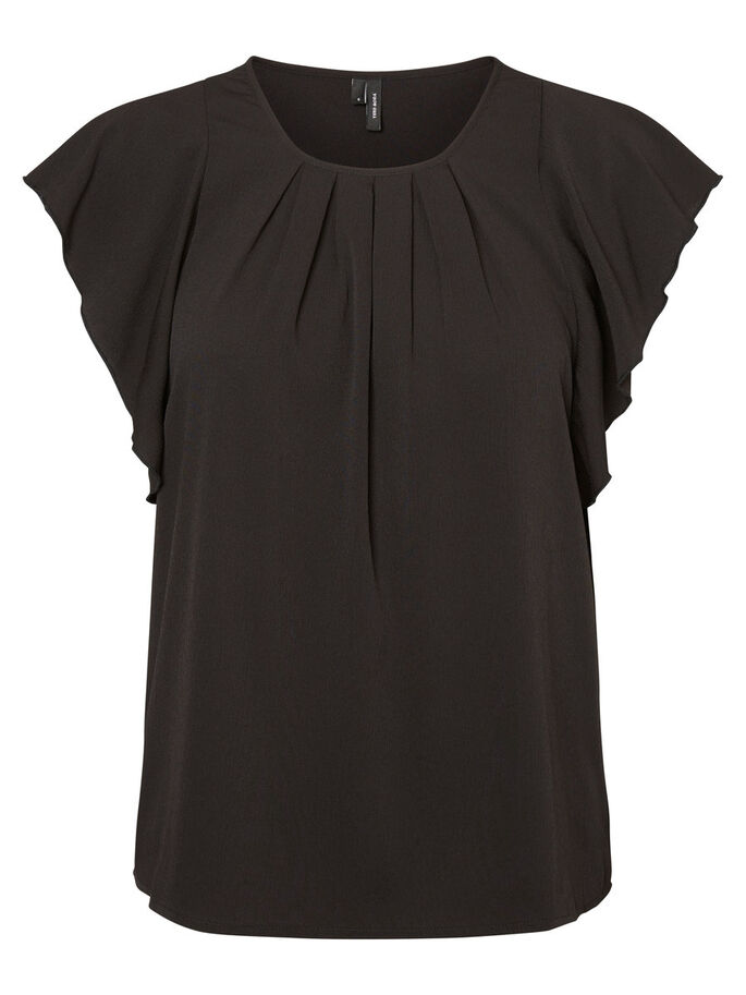 FRILL SHORT SLEEVED TOP, Black, large