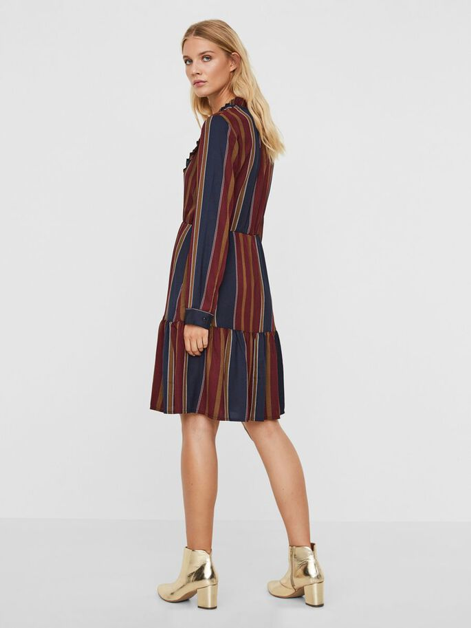 DETAILED LONG SLEEVED DRESS, Zinfandel, large