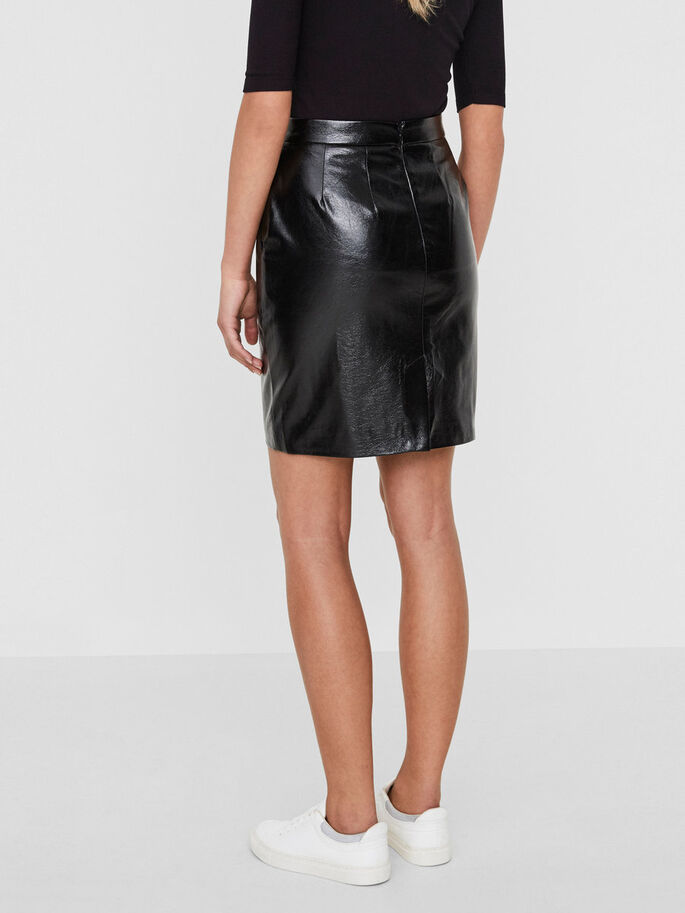 HW LEATHER-LOOK SKIRT, Black Beauty, large