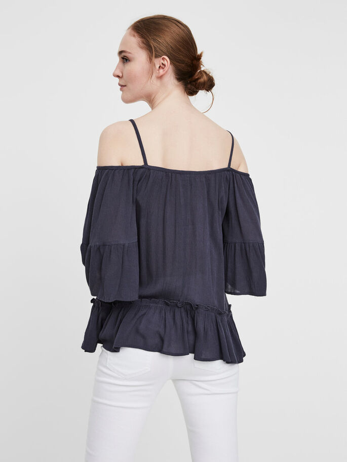 OFF-SHOULDER- BLUSE MIT 3/4 ÄRMELN, Ombre Blue, large