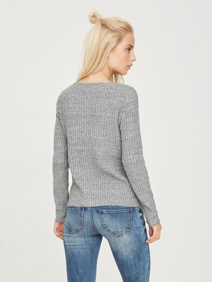 FEMININE KNITTED PULLOVER, Light Grey Melange, large