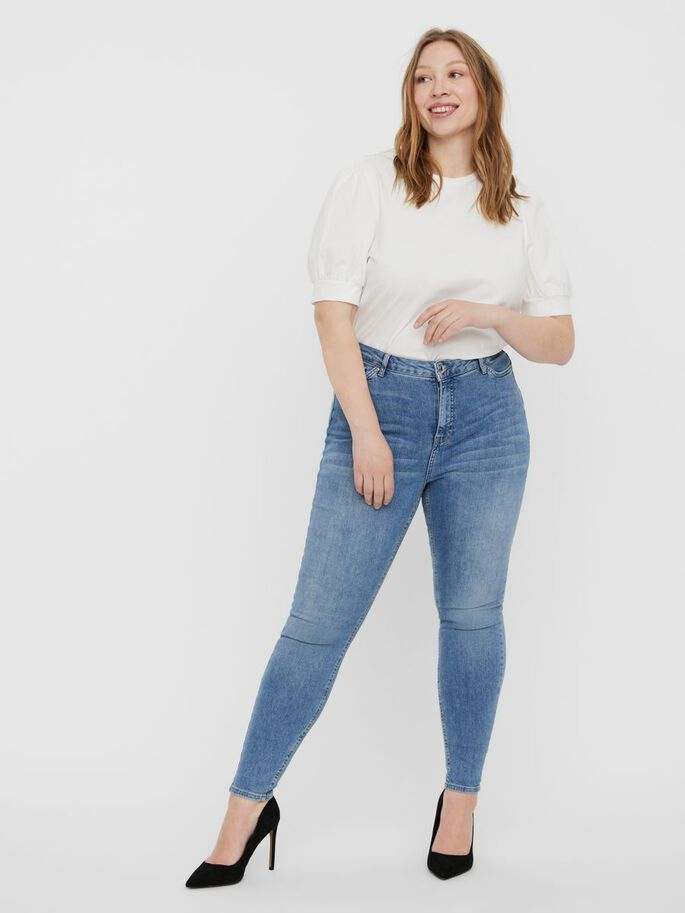VMLORA HIGH WAIST SKINNY FIT JEANS, Light Blue Denim, large