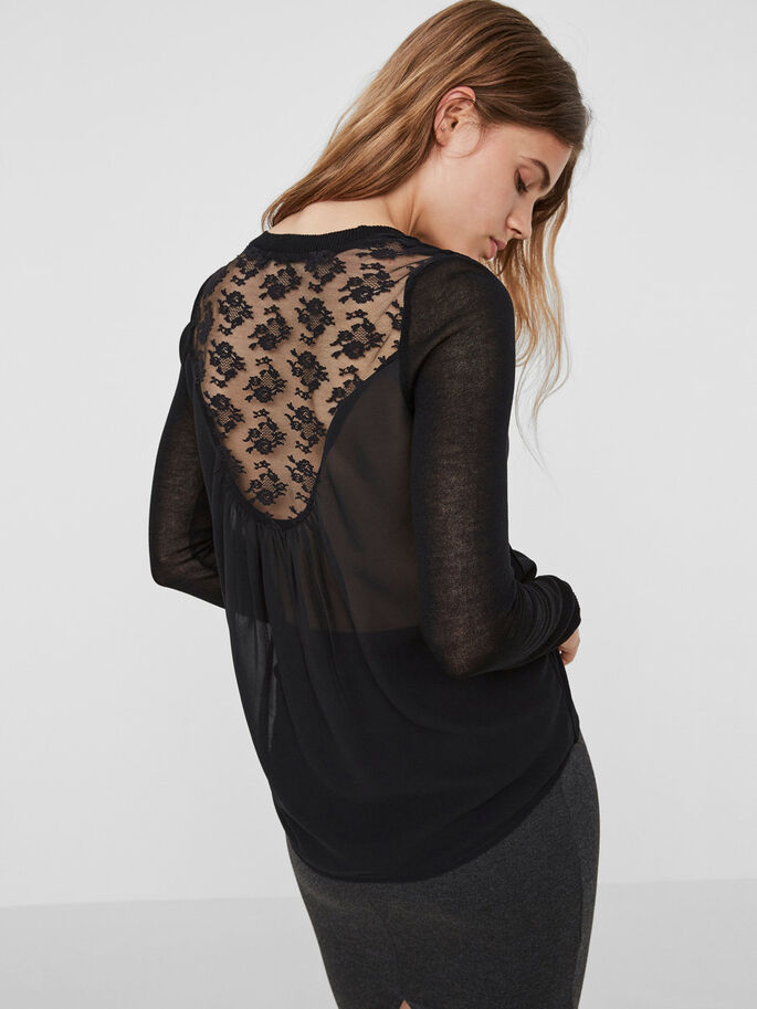 LACE BLOUSE, Black Beauty, large