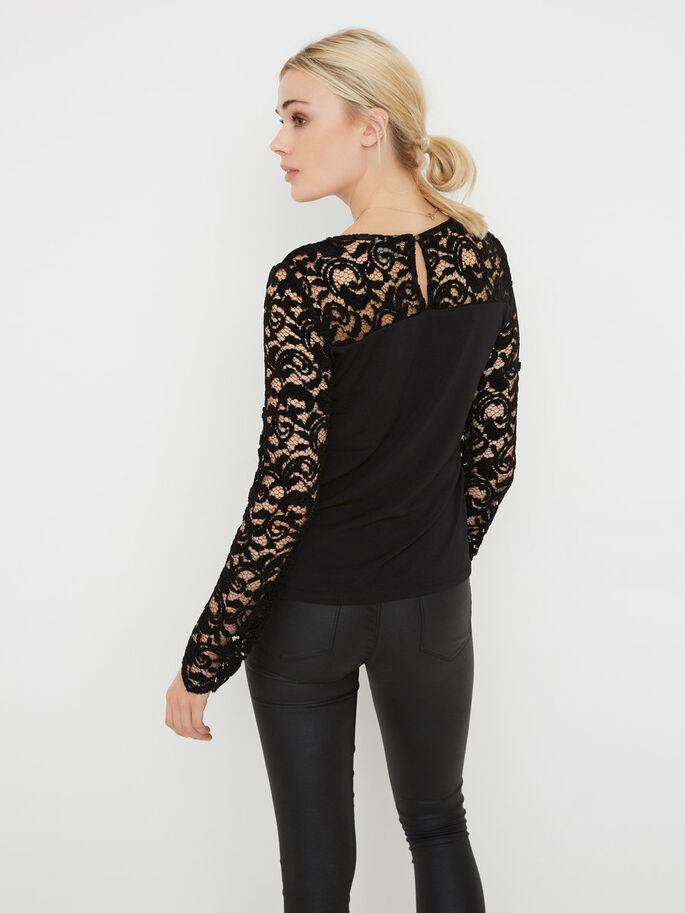 LACE LONG SLEEVED BLOUSE, Black, large