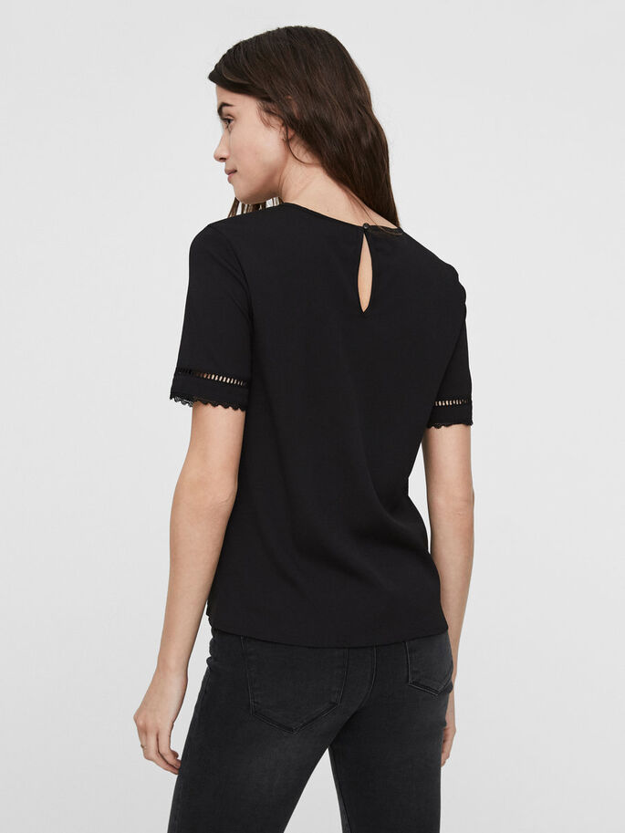 DETAILED SHORT SLEEVED TOP, Black, large