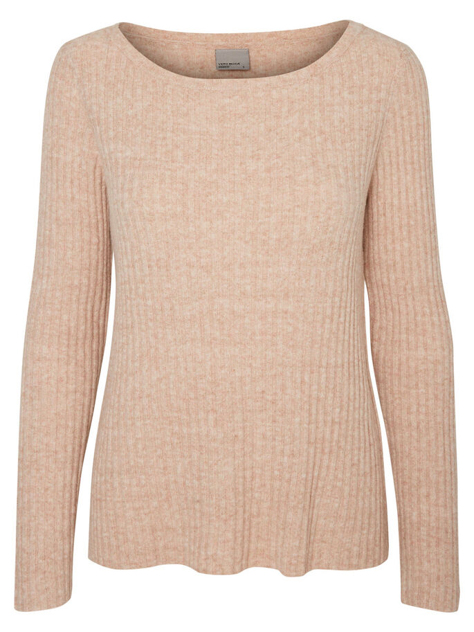 CASUAL KNITTED PULLOVER, Café Au Lait, large