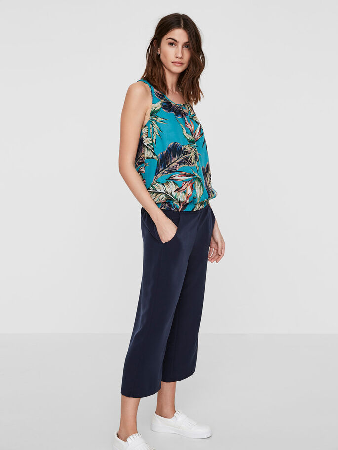 PALM PRINTED SLEEVELESS TOP, Viridian Green, large
