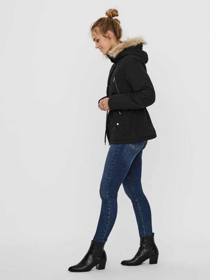 FAUX FUR HOODED PARKA, Black, large