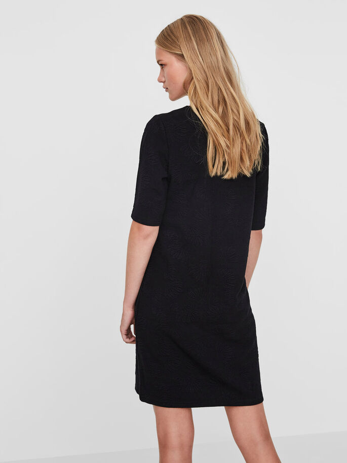 CASUAL SHORT SLEEVED DRESS, Black, large