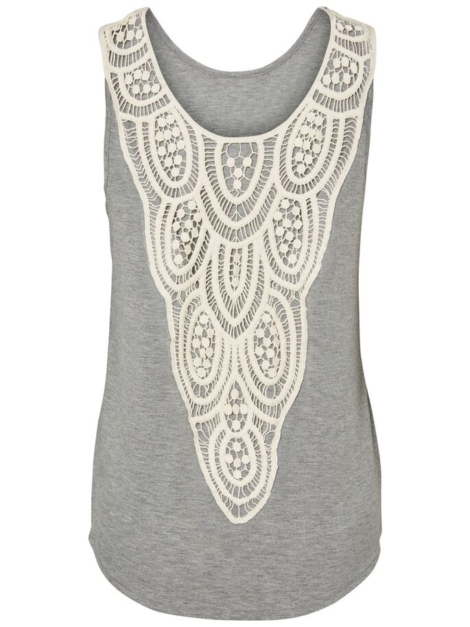 DETAILED SLEEVELESS TOP, Light Grey Melange, large