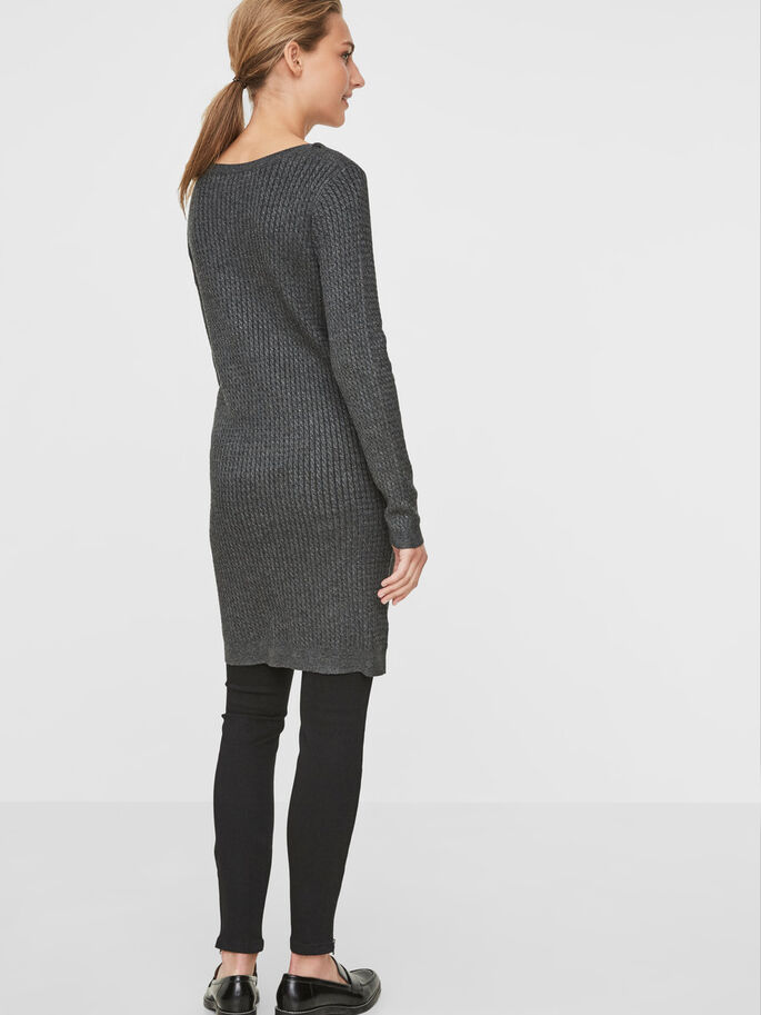 KNITTED LONG SLEEVED DRESS, Dark Grey Melange, large