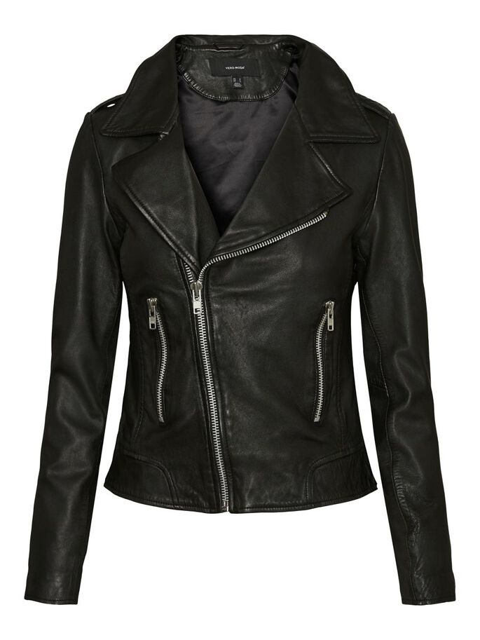 SHORT LEATHER JACKET, Black, large