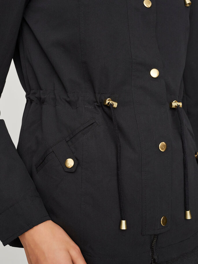 HOODED PARKA COAT, Black Beauty, large