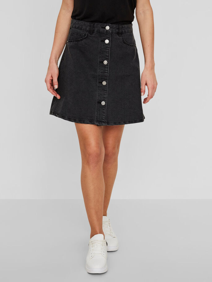 DENIM SKIRT, Black, large